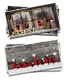 Weihnachtskarten-SET 2 x 3 Stück weihnachtliche Karten Foto-Motiv rot braun natur grau natürlich Foto-Karten Glückwunschkarte Frohe Weihnachten Frohes Fest Weihnachtsmütze + Weihnachtsfenster