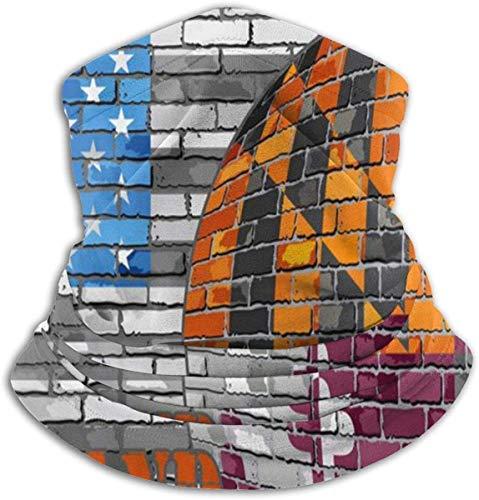 Maryland-Flagge, USA-Flagge, Fleece, Nackenwärmer, Maryland-Flagge, USA-Flagge, Thermo-Halswärmer, winddicht, weiche Gesichtsmaske, Unisex, Stretch-Halstuch für Camping, Skifahren, Radfahren, Wandern -