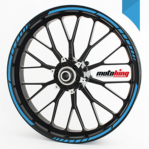 Felgenrandaufkleber GP im GP-Design passend für 17 Zoll und 16″ 18″ 19″ Felgen für Motorrad, Auto & mehr – Hellblau