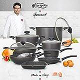San Ignacio Set Big Size Batería de Cocina Gourmet, Aluminio prensado, Gris Oscuro, Cazo de Ø16...