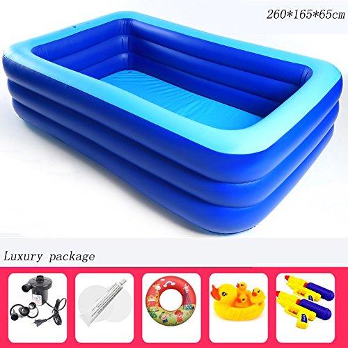 Aufblasbare Pool 3 Ringe Rechteck verdicken Haushalt Kinder Schwimmbad 260 * 165 * 65 cm