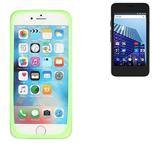 K-S-Trade Für Archos Access 45 4G Silikonbumper/Bumper aus TPU, Grün Schutzrahmen Schutzring Smartphone Case Hülle Schutzhülle für Archos Access 45 4G