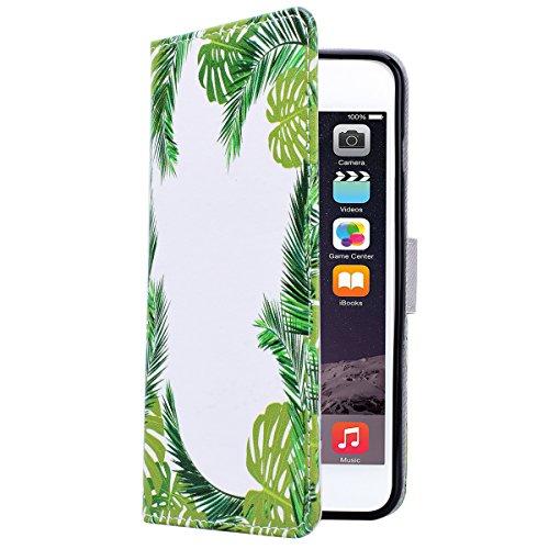 Yokata iPhone 6 Plus / iPhone 6s Plus Hülle Leder Flip Wallet Case Ledertasche mit Kartenfach Ständer Halter Standfunktion Magnet und Weich Silikon Handyhülle Handy Etui Schutzhülle Protective Cover f Grüne Blätter