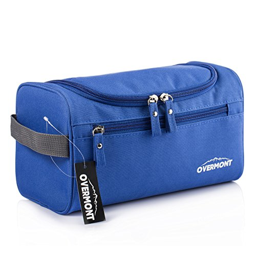 Overmont Neceser de viaje hombre mujer bolsa de aseo baño cosmético maquillaje organizador impermeable colgante para viaje negro/azul/ azul marino