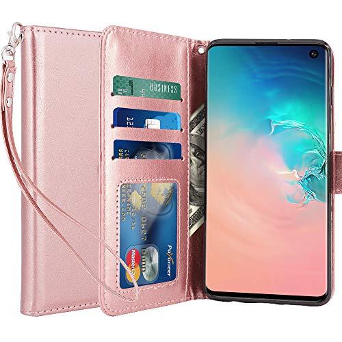 LK Hülle für Galaxy S10, Luxus PU Leder Brieftasche Flip Case Cover Schütz Hülle Abdeckung Ledertasche für Samsung Galaxy S10 (Rose Gold)