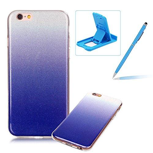 iPhone 6S Plus Hülle Weiches Silikon Glitzer Schutzhülle Tasche Case,iPhone 6 Plus Hochwertig Leicht Gummi Schutz Hoch Handyhüllen Schale Etui,Herzzer Modisch Luxus Silikon Bunt Hülle [Farbverlauf Gra Dunkelblau