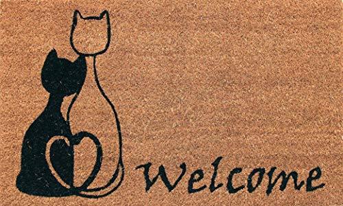 Coco & Coir Natural Coir | Antideslizante | Coco Grueso Respaldo de Goma | Ecológico | Interior | Exterior | Resistente | Serie de Mascotas | Diseño de Gato | Felpudo | 45 x 75 cm (Meow Romance)