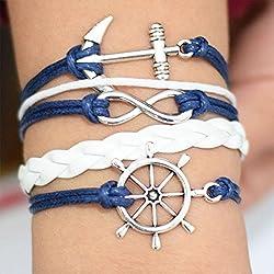 Anchor infinity–Pulsera de cuerda de cera de timón, ancla infinity timón de cera cuerda pulsera pulsera, regalo de cumpleaños, Regalo, Regalo pulsera everyday regalo