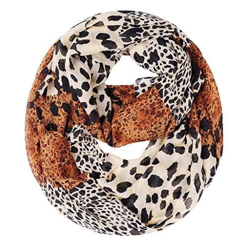 Myfilma Damen Leopard Chiffon loop-Schal Frauen weicher Leopard schiere Infinity Schal Mode Ring Schal & Kopf wickeln hochwertige elegante bequeme Lady Schal -