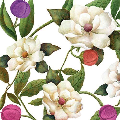 Home Collection Servietten (2er Set / 40Stück) 3-lagig 33x33cm Flower Blüten Magnolie -
