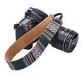 Beaspire Correa de Hombro Cuello Ajustable de Algodón Suave para Cámara Réflex DSLR Canon Nikon Pentax Sony (Correa-09 Verde)