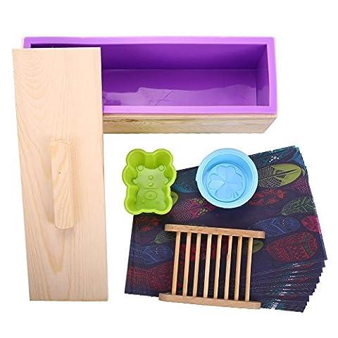 Lanlan Silikon rechteckig DIY Seife, Kerze, Toast, Gelee, Pudding mit Holz Form Box Homemade, rosa
