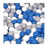 100 Bälle für Bällebad viele bunte Farben Baby Kind Spielbälle Kugelbad Ø 7cm Blau Türkis Grau Pink Rosa Schwarz Weiß (Blau, Grau und Weiß)
