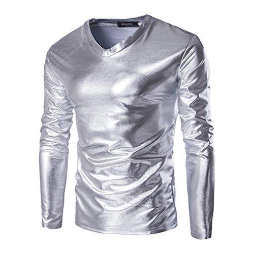 T-Shirt A Maniche Lunghe in Metallo Lucido da Uomo Slim Fit Shirt con Scollo A V Top Clubwear Disco Dance Cosplay Costume