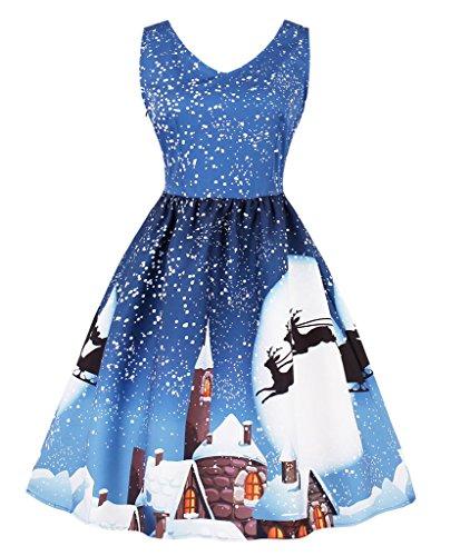 50s Retro Robes,VERNASSA Femme Vintage Noël Courte Robe Evening Cocktail, Swing Dress, Multicolor, S-XXXXL 1589-Bleu