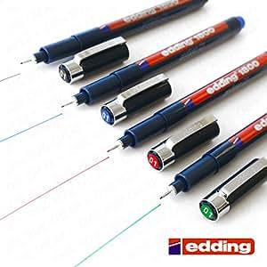 Edding 1800profipen Pigment Liner Stylo à pointe fine Stylo à dessin–0,1mm [Lot de 4–Noir, Bleu, Rouge, Vert,]