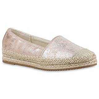 Damen Espadrilles Metallic SlipperBast Profilsohle Flats Freizeit Glitzer Prints Spitze Schuhe 129912 Rosa Metallic 40 Flandell