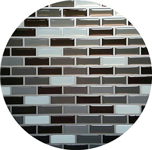 """Wall Sticker & Tile Wall Tile Stickers Peel and Stick Self-Adhesive Wall Tile with Mosaic Effect for Kitcheh Bathroom Backsplash Black Grey White 9"""" X 9"""" Pack of 2"""