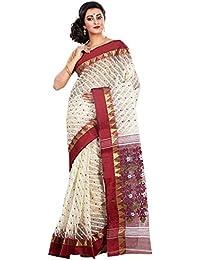 RLBFashion Women's Cotton Silk Handloom Dhakai Jamdani Saree (White & Maroon)
