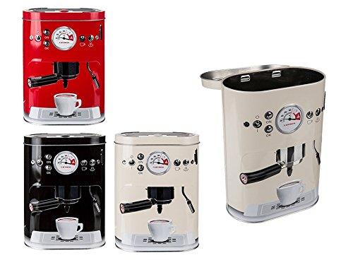 Lgv contenitore barattolo vintage per caffe' in metallo design macchinetta per espresso 3 colori porta cialde e capsule