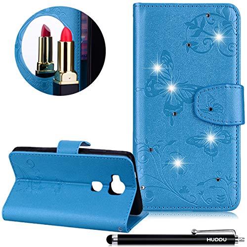 Huawei Honor 5X Hülle,HUDDU Spiegel Mirror Handyhülle Schmetterling Diamant Blume PU Leder Wallet...