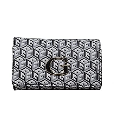 Moyen porte monnaie femme à rabat Guess G Cube SLG GG456345 - Noir / Blanc
