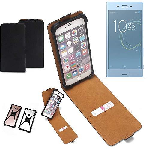 K-S-Trade Flipstyle Case Sony Xperia XZs Dual SIM Schutzhülle Handy Schutz Hülle Tasche Handytasche Handyhülle + integrierter Bumper Kameraschutz, schwarz (1x)