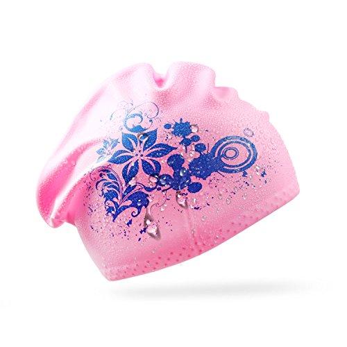 amen Schwimmhaube für Lange Haare Schwimm Mütze Silikon Badekappe mit schönem Blumen-Muster - Rosa (Rosa Damen Haar)