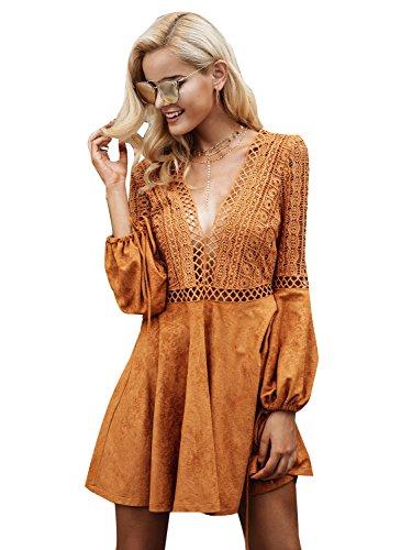 Simplee Apparel Damen Kurz Kleid Elegant Langarm V-Ausschnitt Rückenfrei Cusual Spitze Kleid mit Trompete ()