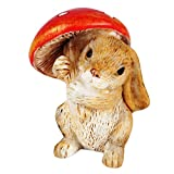 #1: Wonderland Miniature 1.4 inches fairy garden Bunny with mushroom for planter decoration, bonsai, terrarium, garden decor, mini, miniatures, tray garden, doll house, kids room decor, gift, home decoration item