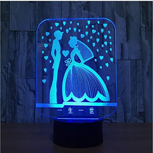 Und Bräutigam 3D Lampe Led Bunte Romantische 3D Nachtlicht UsbHochzeitsgesellschaft Atmosphäre Lampe Als Geschenk DesGeliebten ()