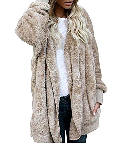 ASSKDAN Damen Teddy-Fleece Mantel Kapuzenjacke Baggy Parka Trench Coat Wärme Outwear