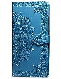 JAWSEU Billetera Funda Compatible con Xiaomi Redmi Note 5/Note 5 Pro Folio Libro 360 Grados PU Cuero Funda Mandala Flor Diseño Ranuras para Tarjetas Cierre Magnético Soporte Plegable Completa Carcasa