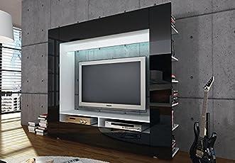 Charmant Möbel Akut Medienwand Olli TV Wohnwand Medi Front In Schwarz Hochglanz Mit  Seitlichen Ablagefächern