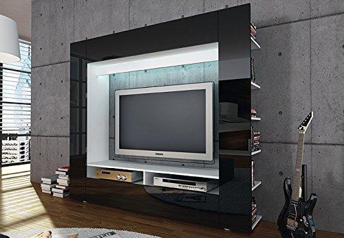 Möbel Akut Medienwand Olli TV Wohnwand Medi Front In Schwarz Hochglanz Mit  Seitlichen Ablagefächern