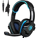 Gaming Kopfhörer,sa708gt 3,5 mm Gaming Headset mit Mikrofon Geräuschunterdrückung Musik Spiel Kopfhörer für PS4 Xbox 360 Tablet PC Handys (schwarz/blau)