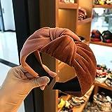 BHERTL Large Velvet Hairband Bandeau pour Femmes Filles Solide Couleur Cerceau De Noeud De Cheveux Bandes Élastique À Cheveux Accessoires De Cheveux-Caramel