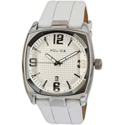 Police Men's Edge Watch 12963JS/01 with White Leather Strap
