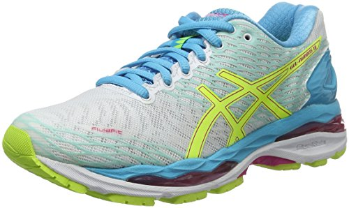 Asics W S Gel-Nimbus 18, Scarpe da Corsa Donna, Multicolore (White/Safety Yellow/Aquarium), 39