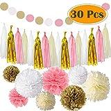 Paxcoo 30 Stück Rosa und Gold Tissue Papier Pom Poms Blumen Quaste Girlande für Geburtstag Hochzeit Party Dekorationen