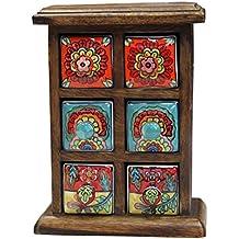 Just Contempo–Especias de 6cajones Baúl de almacenaje, color naranja, madera, Multicolor, 18 x 25 cm