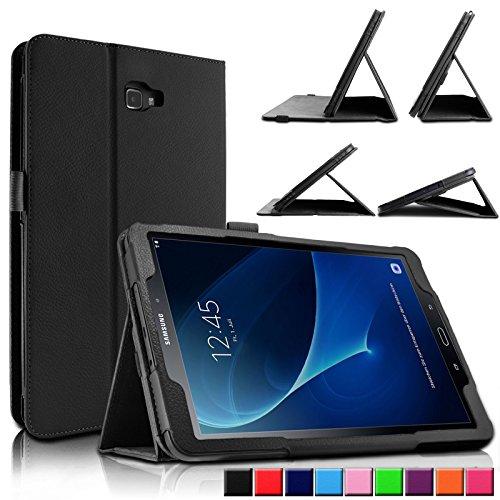 Samsung Galaxy Tab A 10.1 Hülle Case, Infiland Slim Fit Folio PU-lederne dünne Kunstleder Schutzhülle Cover Tasche für Samsung Galaxy Tab A 10.1 Zoll Wi-Fi/ LTE (2016) SM-T580N/SM-T585N Tablet-PC(mit Auto Schlaf / Wach Funktion)(Schwarz)