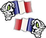 Main Paire de Mascottes crâne avec Flying France Français Drapeau pour casque moto biker en vinyle autocollant pour voiture en 50x 32mm chaque