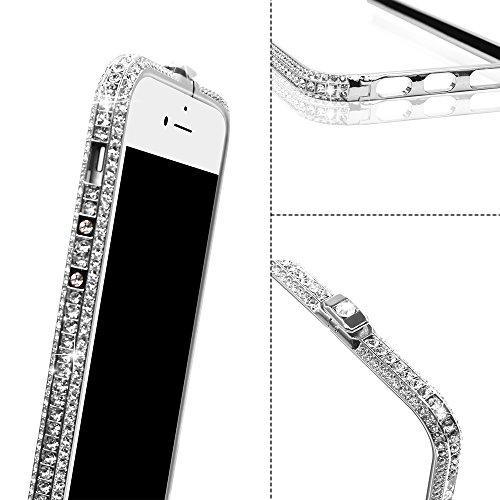 Suntapower iPhone 6/6s Plus,iPhone 7 Plus custodia Universale,ultra sottile e Bling Rigida Disegno Diamante Bumper,Anti Scivolo e Trasparente Cover case per iPhone 6/6s Plus,iPhone 7 Plus 5.5 ,Nero Argento