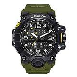 Reloj de Pulsera Digital para Hombre, analógico Deportivo Militar, cronógrafo Digital, Correa de Resina LED Resistente al Agua 56 mm, Color Verde