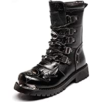 LXLLY Mens Martin Boots Genuine Leather Military Army Waterproof Breathable Boots Gothic Punk Motorcycle Round-Toe Martin Boots Mid Heel,46