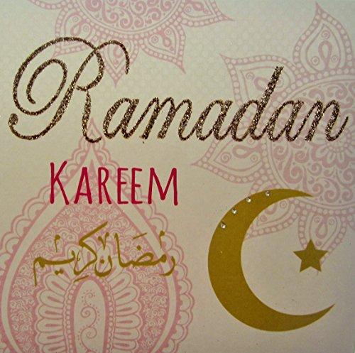 WHITE COTTON CARDS Code R4Ramadan Kareem Handgefertigt Islamische Celebration Karte