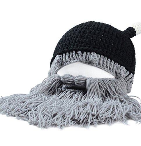 Ularmo Lustige Bartmütze Herrn Damen Strickmütze Skimütze Snowbard Mütze (Black Beard Kostüme)