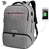 Mochila para portátil 15.6 con Puerto de USB Mochila Escolares Impermeables para Diario Negocio Trabajo Viaje,Gris