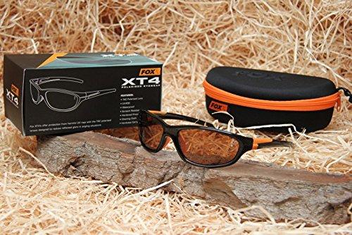 Fox XT4 Sunglasses Polbrille, Modell:Schwarzer Rahmen / Braune Gläser